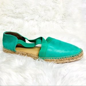 Talbots Green Espadrille Flats Suede Leather